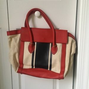 Red, Blue Canvas J.Crew Leather Tote